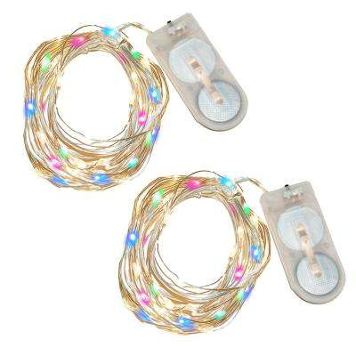40-Light Mini Waterproof LED Multi-Color String Light (2-Pack)