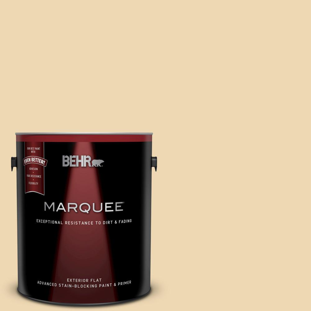Behr Marquee 1 Gal 340e 3 Bavarian Cream Flat Exterior Paint And Primer In One 445001 The Home Depot