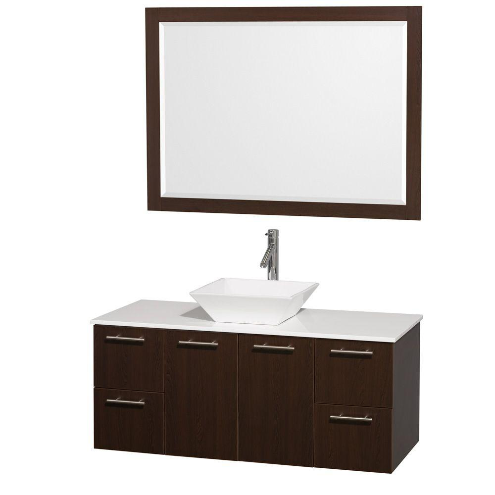 Wyndham Collection Amare 48 in. Vanity in Espresso with Man-Made Stone Vanity Top in White and White Porcelain Sink and Mirror