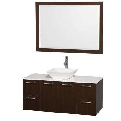 Amare 48 in. Vanity in Espresso with Man-Made Stone Vanity Top in White and White Porcelain Sink and Mirror