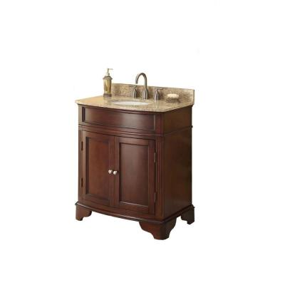 Terryn 31 in. W x 35 in. H x 20 in. D Vanity in Cherry with Granite Vanity Top in Beige with White Basin
