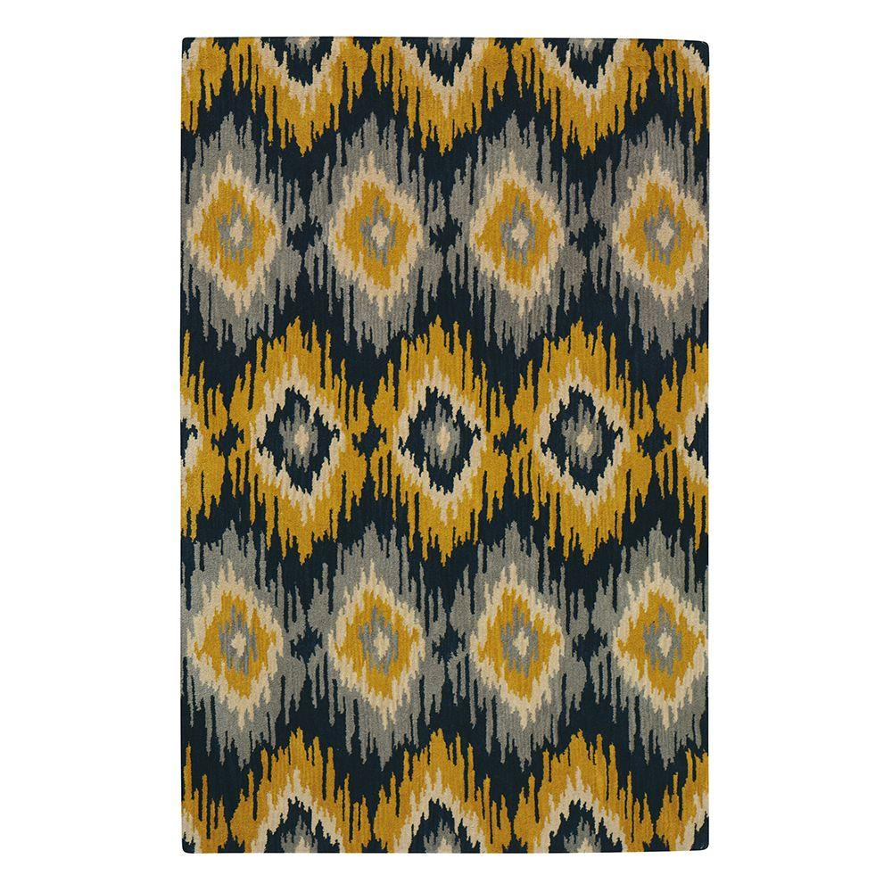 Home Decorators Collection Diamond Ikat Yellow and Gray 9 ft. 6 in. x 13 ft. 6 in. Area Rug