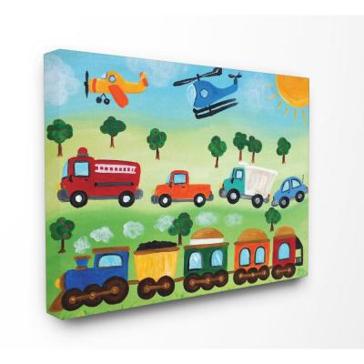 """24 in. x 30 in. """"Planes, Trains, and Automobiles"""" by nJoyArt Printed Canvas Wall Art"""
