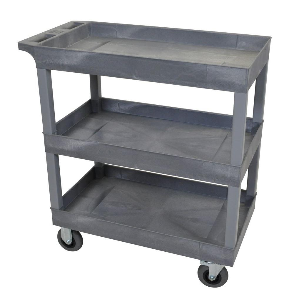 Luxor 18 in. x 32 in. 3-Tub Shelf Plastic Utility Cart with 5 in ...