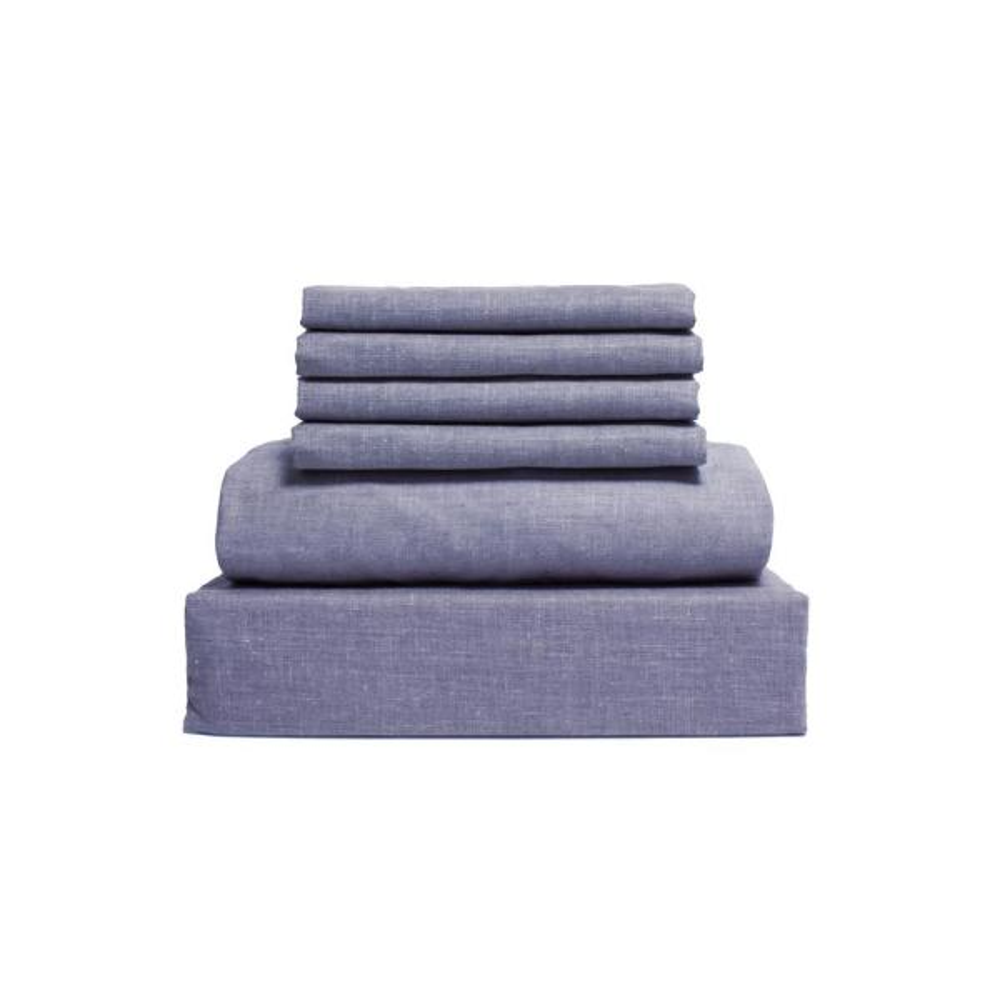Loft Living Collection 6-Piece Denim Blue Solid 144 Thread Count Cotton Full Sheet Set