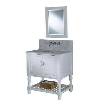 Mission Turnleg Spa Premium 32 in. Vanity in Pearl White with Marble Vanity Top in Carrara White and Mirror