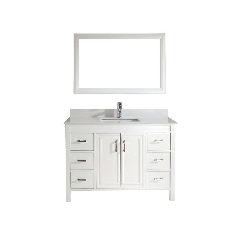 Studio Bathe Dawlish 48 in. Vanity in White with Solid Surface Marble Vanity Top in White and Mirror