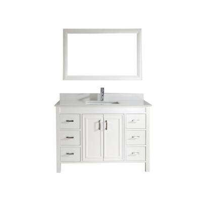 Dawlish 48 in. Vanity in White with Solid Surface Marble Vanity Top in White and Mirror
