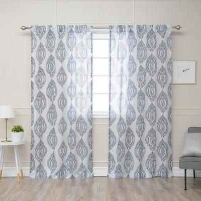 84 in. L Polyester Faux Linen Sheer Medallion Curtains in Navy (2-Pack)