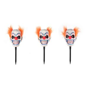 Animated LED Clown Pathway Halloween Markers (3-Pack)