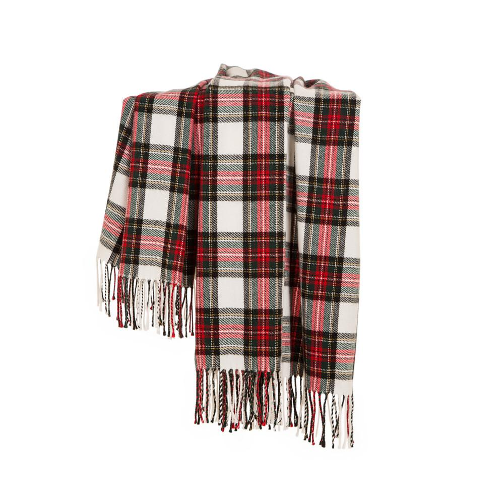 Glitzhome 60 in. L Plaid Woven Throw