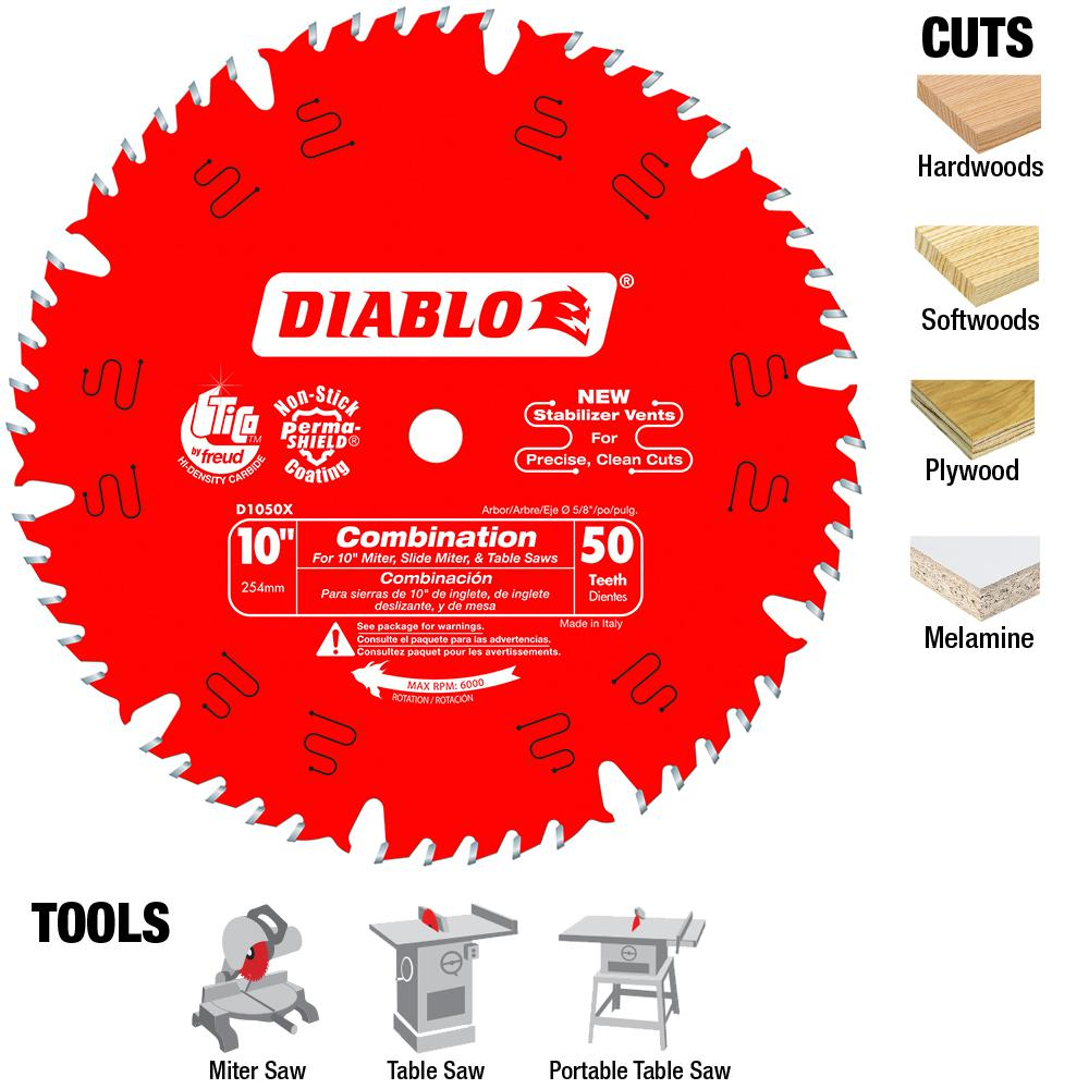 Diablo 10 In X 50 Teeth Combination Saw Blade D1050x