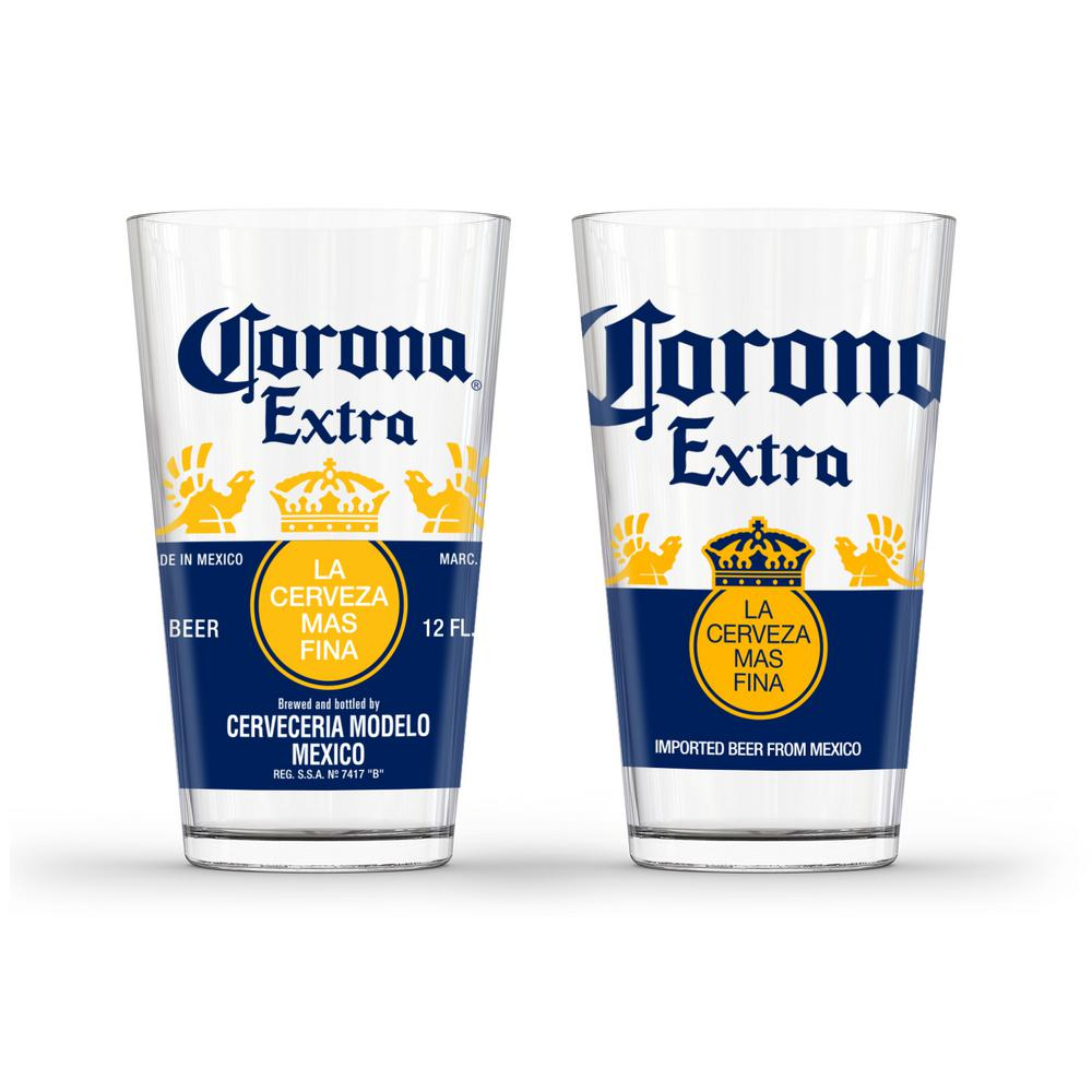Corona extra caps pub glass set of 2 gd16043pb the for How to make corona glasses