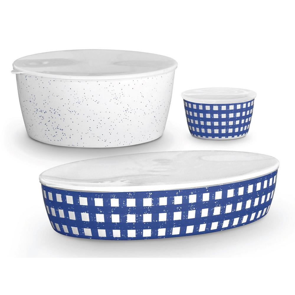 Homemade Navy S/3 Melamine Lidded Bowls,S/M/L, 12 oz., 158 oz., 160 oz.