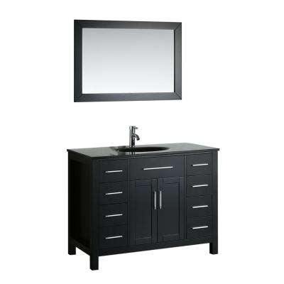 Bosconi 43.3 in. W Single Bath Vanity in Black with Tempered Glass Vanity Top in White with Black Basin and Mirror