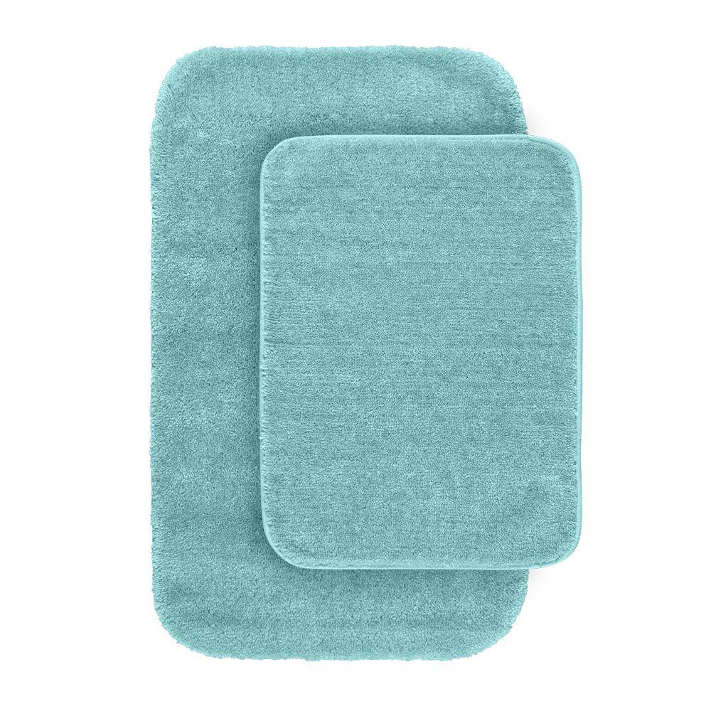 Bath Mat Teal Traditional Sea Foam 21 In 34 In Washable