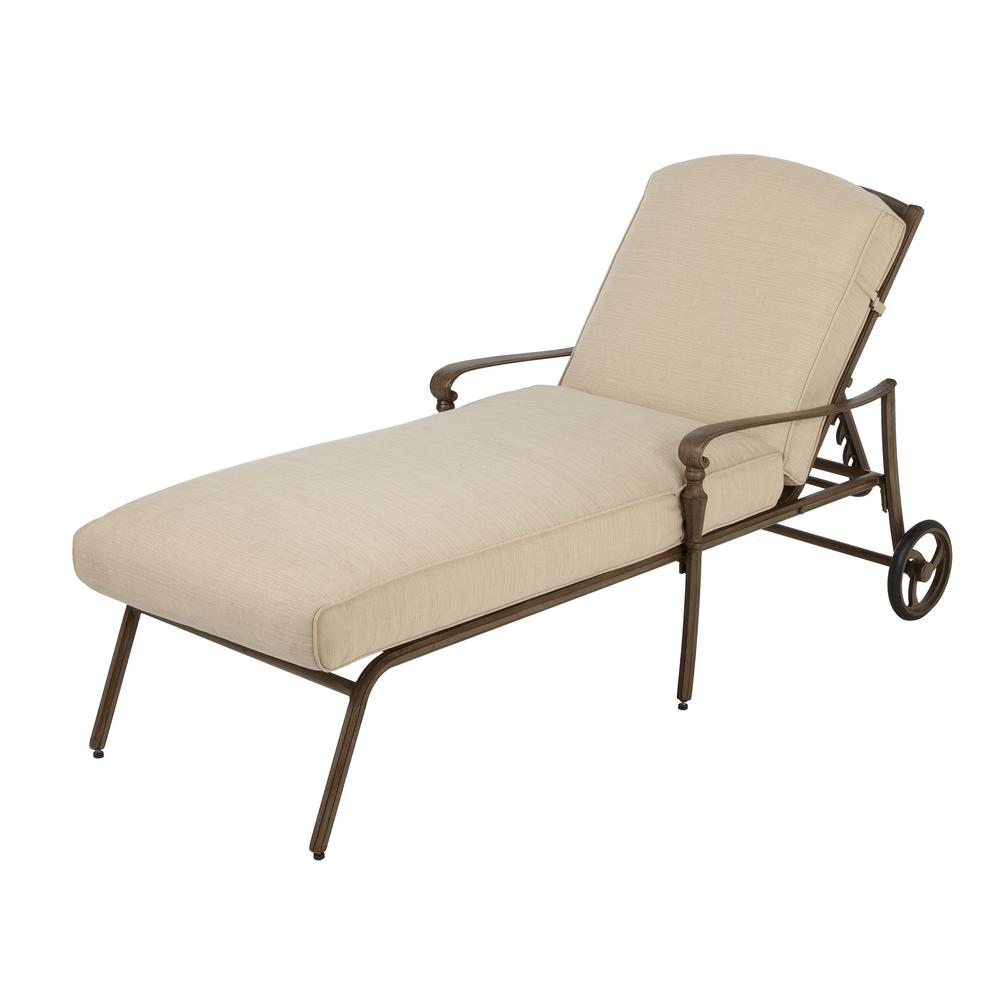 hampton bay cavasso metal outdoor chaise lounge with oatmeal cushion 171 410 cl the home depot. Black Bedroom Furniture Sets. Home Design Ideas