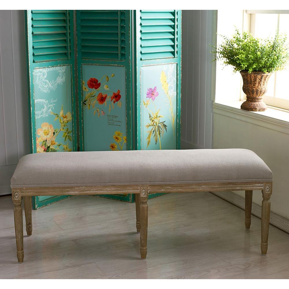 Baxton Studio Clairette Beige Bench