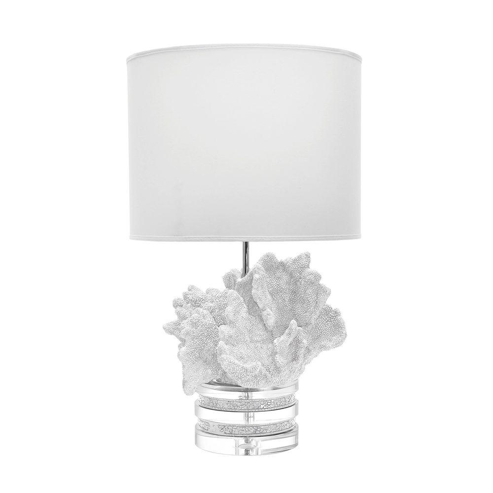 White C And Crystal Table Lamp With Suede Shade