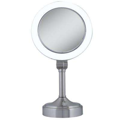 Surround Light 10X/1X Vanity Mirror in Satin Nickel