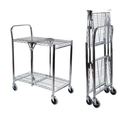 Commercial Grade 2-Tier Rolling Folding Utility Cart - Wire
