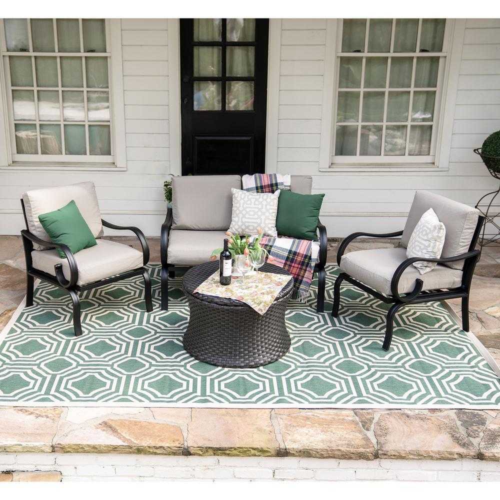 Savannah 4-Piece Wicker Patio Conversation Set with Tan Cushions