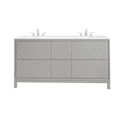 W Double Vanity In Dove Grey With Quartz Vanity Top In White