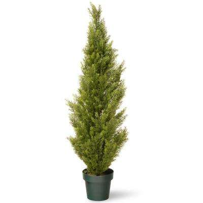 48 in. Artificial Arborvitae Tree in Dark Green Round Growers Pot