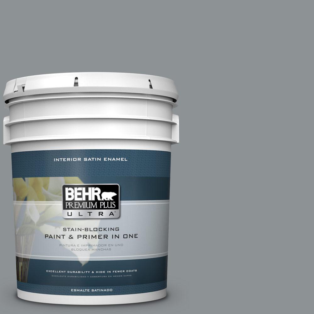 5 gal. #PPU26-05 Flint Gray Satin Enamel Interior Paint