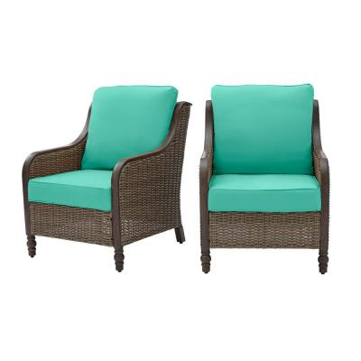 Windsor Brown Wicker Outdoor Patio Lounge Chair with CushionGuard Seaglass Turquoise Cushions (2-Pack)