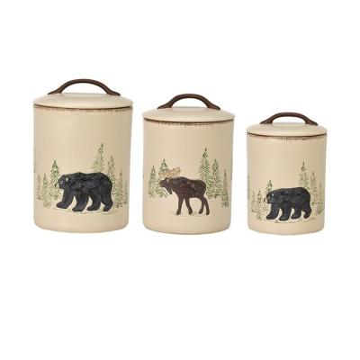 Rustic Retreat 3-Piece Ceramic Canister Set with Matching Airtight Lids