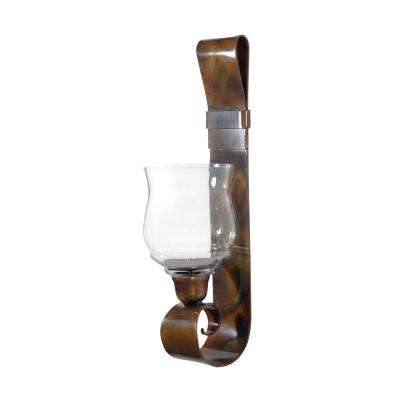 Burnham 24 in. Clear and Burned Copper Glass and Metal Wall Sconce Candle Holder