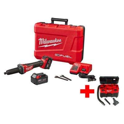 M18 FUEL 18-Volt Lithium-Ion Brushless Cordless 1/4 in. Dia Grinder Kit with Free M18 Wet/Dry Vacuum