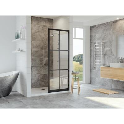 Gridscape Series 36 in. x 75 in. Factory Window Framed Fixed Shower Screen in Matte Black and Clear Glass without Handle