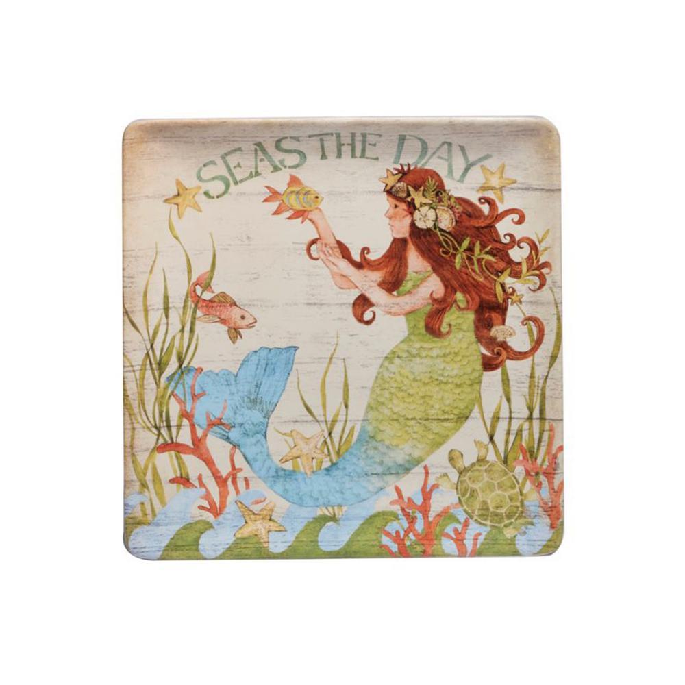 Sea Beauty 12.5 in. Multi-Colored Ceramic Square Platter