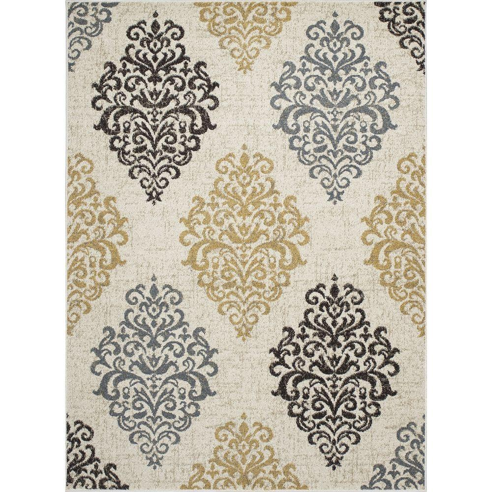 New Casa Damask Ivory/Yellow 2 ft. 7 in. x 4 ft.
