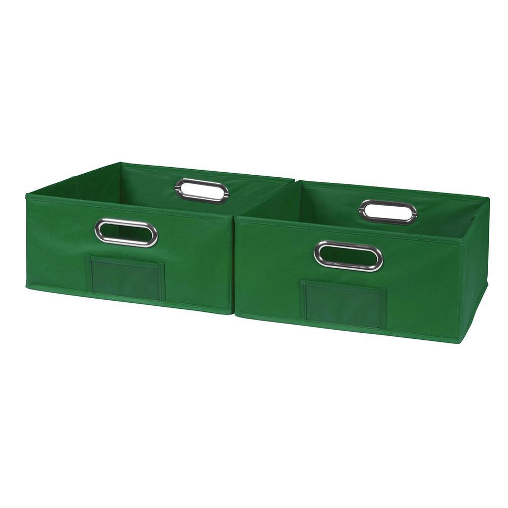 Cubo 12 in. x 6 in. Green Folding Fabric Bin (2-Pack)