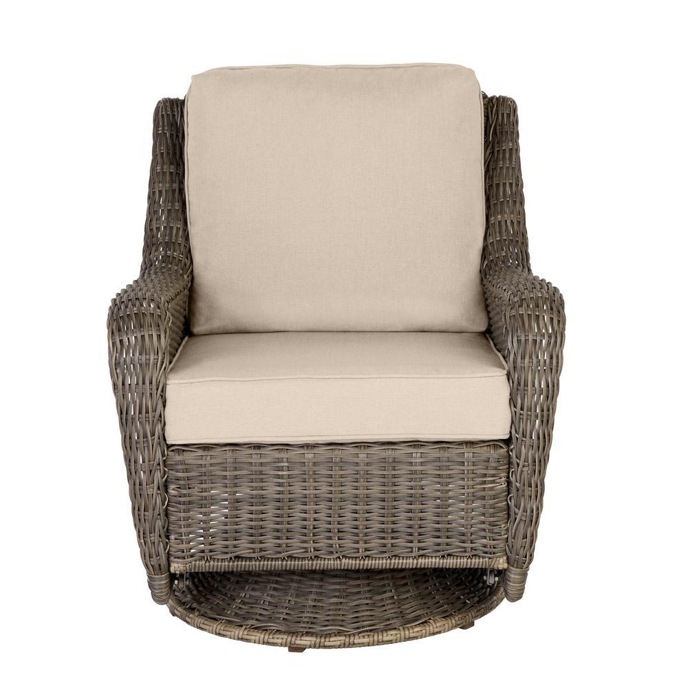 Hampton Bay Cambridge Gray Wicker, Outdoor Patio Furniture With Rocking Chairs
