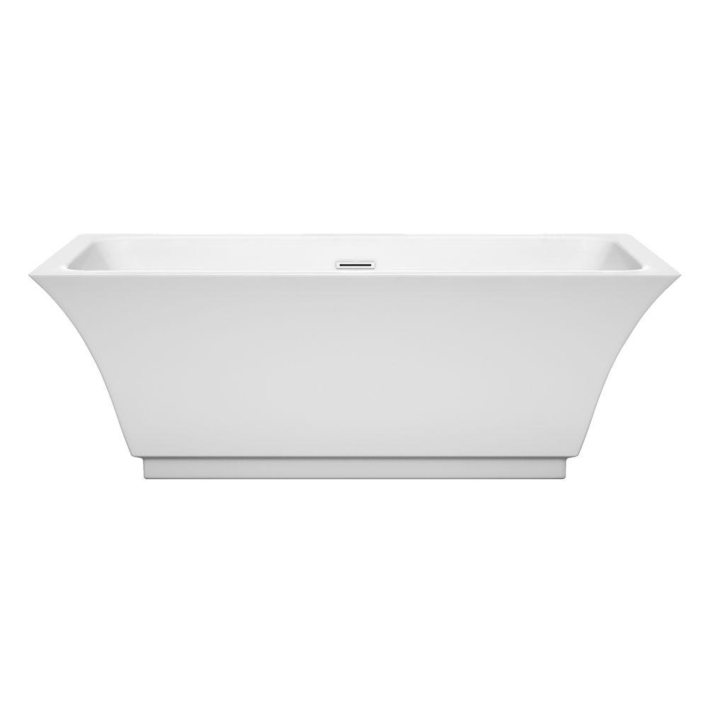 Galina 67 in. Acrylic Flatbottom Center Drain Soaking Tub in White