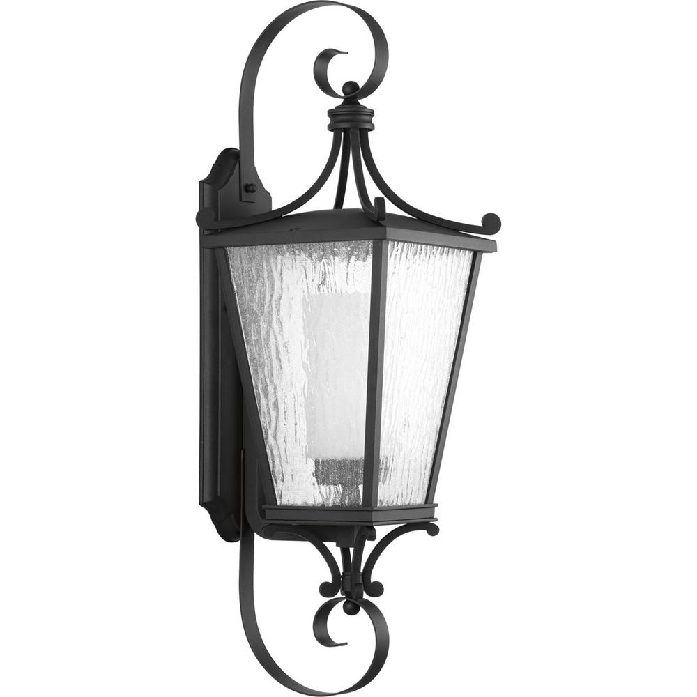 Cadence Collection 1-Light Outdoor 10 Inch Black Wall Lantern