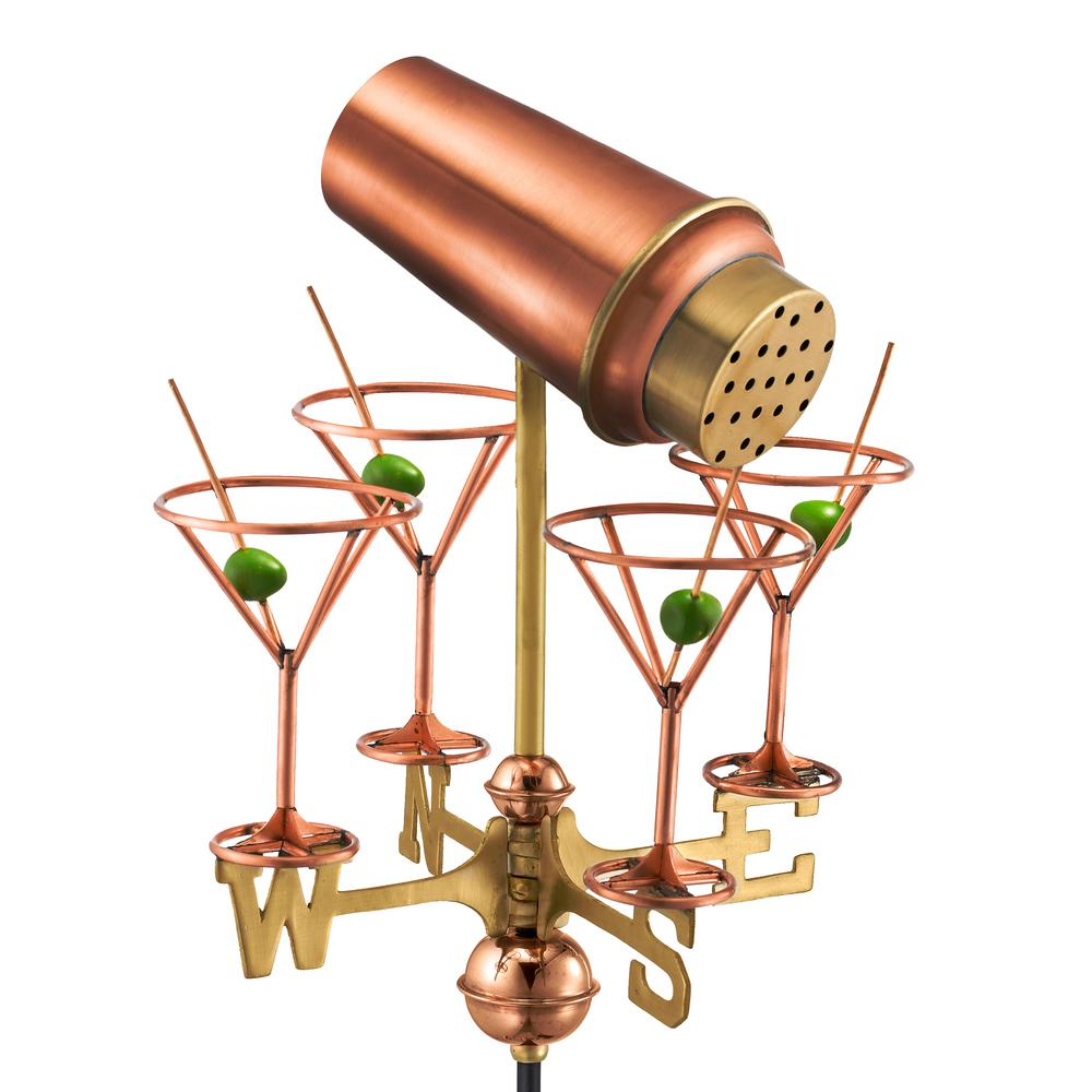 Martini with Glasses Cottage Weathervane - Pure Copper with Roof Mount