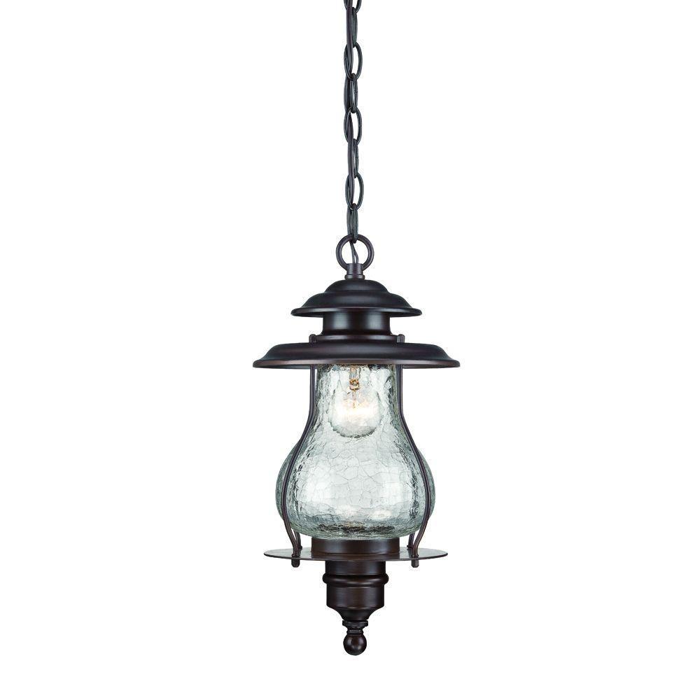 Blue Ridge Collection 1-Light Architectural Bronze Outdoor Hanging Lantern