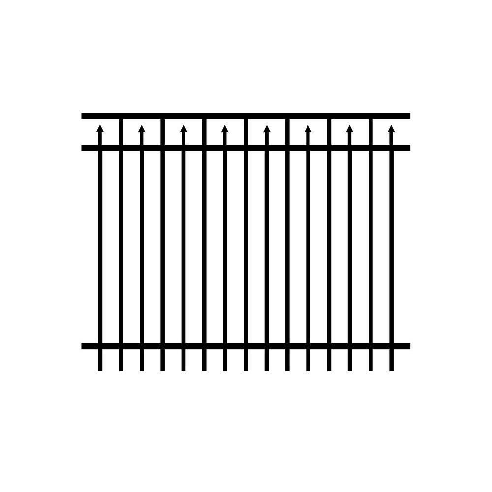 Adams 3 ft. H x 6 ft. W Black Aluminum Fence Panel (3-Pack)