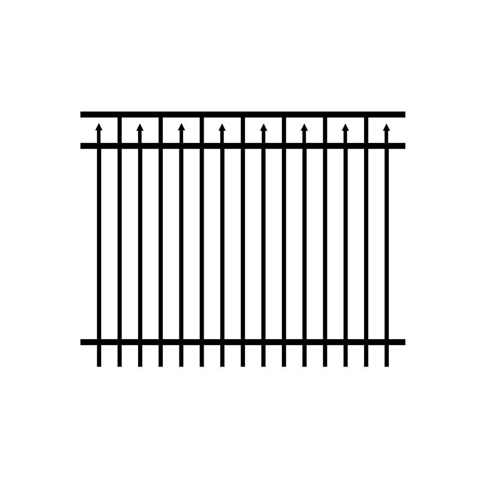 Adams 4 ft. x 6 ft. Black Aluminum Fence Panel (3-Pack)