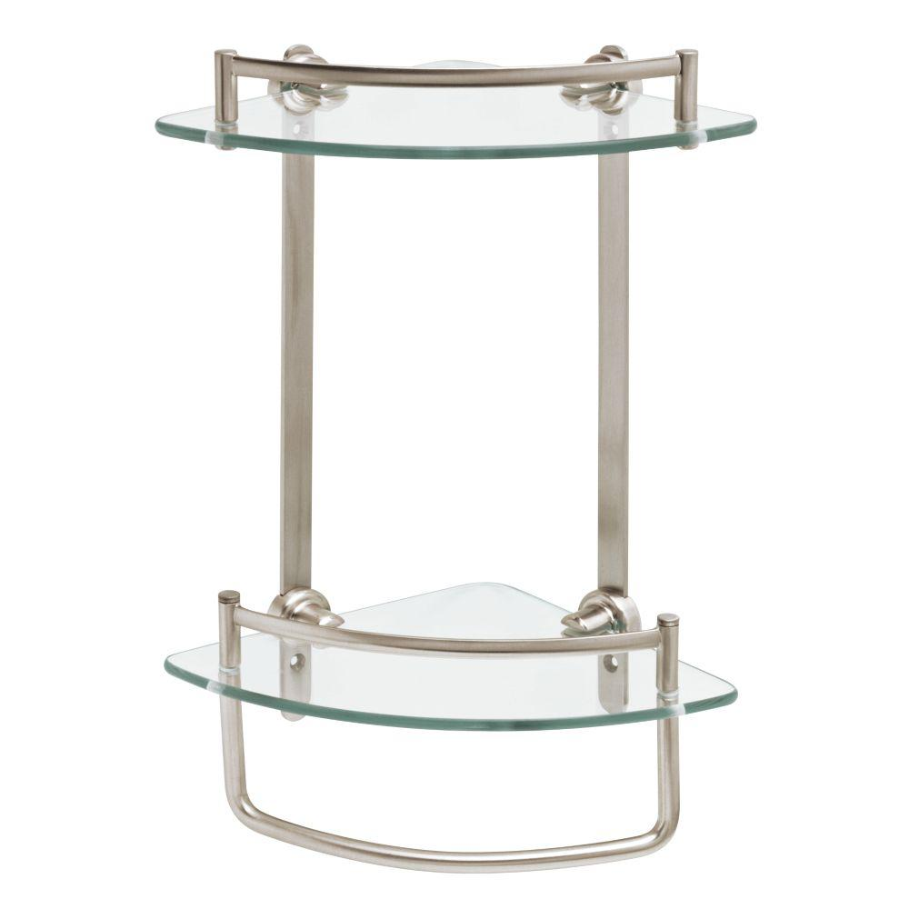 W Glass Double Corner Shelf With Hand Towel Bar In Brushed Nickel