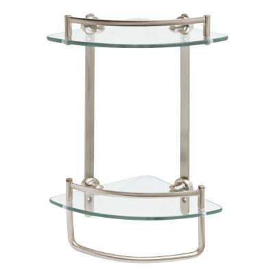 8 in. W Glass Double Corner Shelf with Hand Towel Bar in Brushed Nickel
