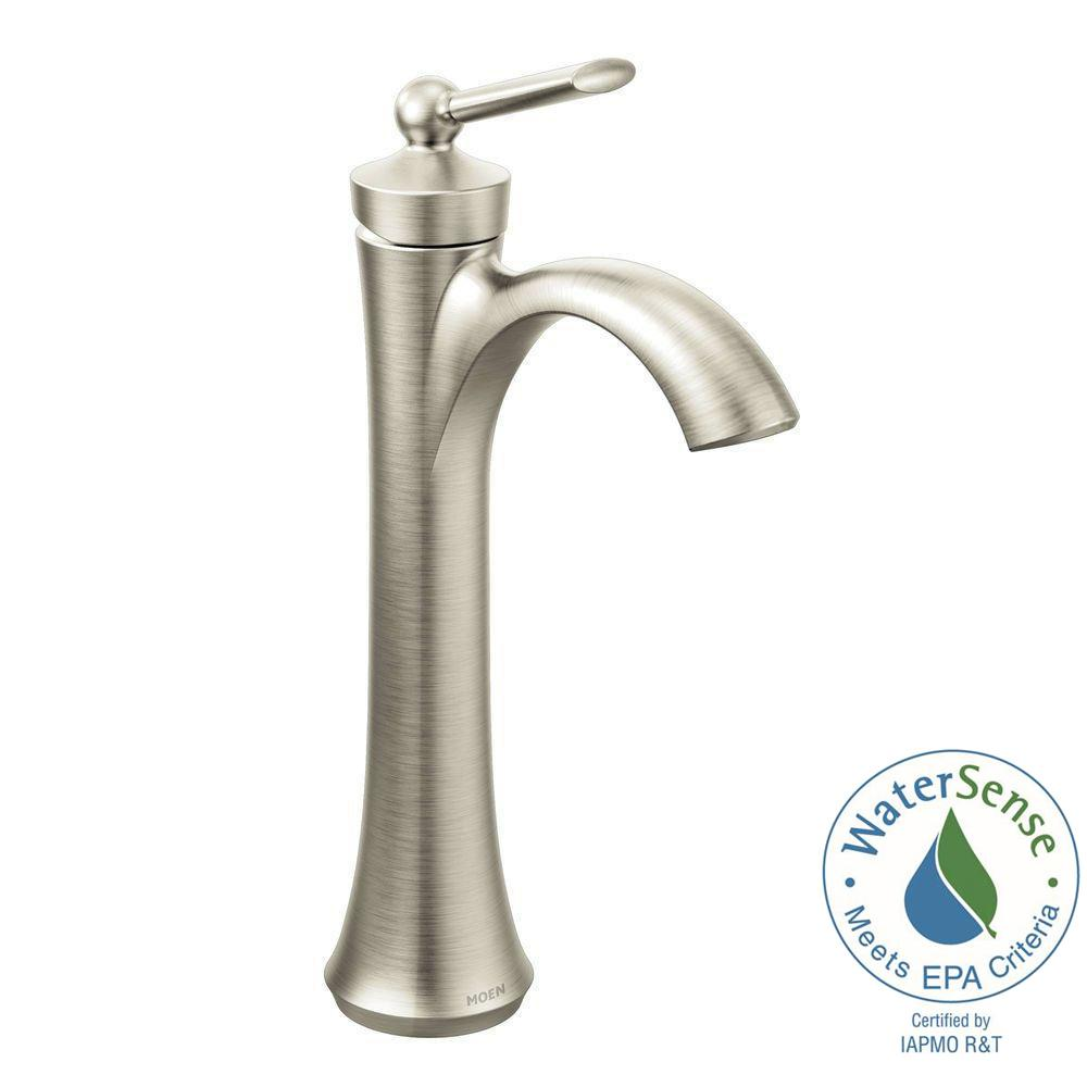 Moen Wynford Single Hole Single Handle Vessel Bathroom Faucet In Brushed Nickel 4507bn The