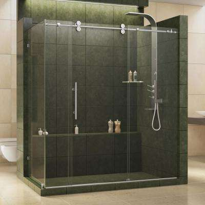 Enigma 36 in. x 72-1/2 in. x 79 in. Frameless Corner Sliding Shower Enclosure in Polished Stainless Steel, 1/2 in. Glass