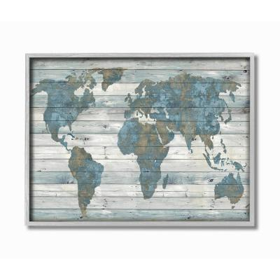 """16 in. x 20 in. """"Slate Blue and Tan Rustic Planked Look Weathered World Map"""" by Jamie MacDowell Framed Wall Art"""