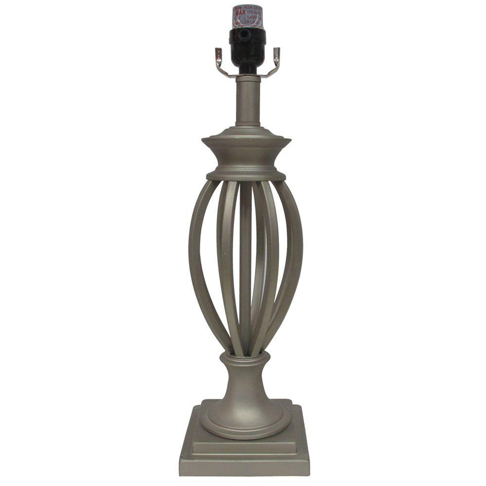 Beau Hampton Bay Mix U0026 Match 26.25 Brushed Nickel Open Cage Table Lamp